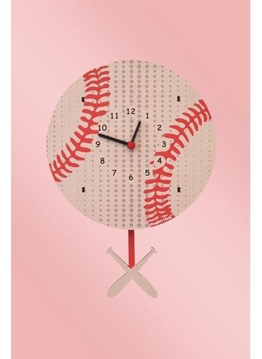 Peoples Clock Beyzbol Sallanan Sarkaçlı Çocuk Odası Duvar Saati Renkli